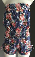 Retro REFUGE Strapless Denim Floral Print Romper/Playsuit/Jumpsuit Size S/6