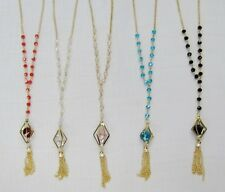 Wholesale Lot 12 PCS Gold Necklaces Mixed Colored Crystal Beaded Charm Necklace