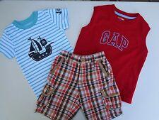 Lot of 3 Baby Gap Logo tee t-shirt Carter's romper Old Navy shorts 18-24 M Boys