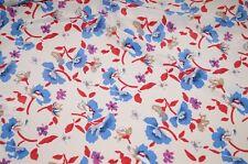 italienischer Kleiderstoff weiss Blumen rot blau Meterware #0210