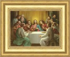 SMALL - THE LAST SUPPER JESUS AND THE 12 DISCIPLES PICTURE - GOLD MOULDED FRAME