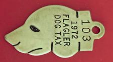 Vintage Dog License Brass Tag: Dog Head Shaped; 1972 Flagler Colorado