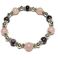 Rose Quartz Silver Plated Beaded Costume Bracelets