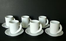 Set of 6 Rosenthal CUPOLA White Porcelain Tea Cups & Saucers