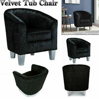Crushed Velvet Tub Chair Armchair Sofa Seat Luxury Dining Room Office Reception