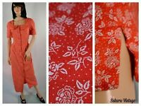Vintage Red Floral Maxi DRESS size 10 Large Lolita Button Front Peter Pan Collar