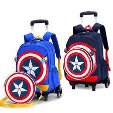 Captain America Shield Kid Wheels Backpack Blue Bag Luggage Rolling Trolley Bags