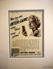 Original Vintage Advert mounted ready to frame Teeth and Gums 'Inter-Dens' 1958