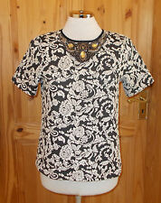 WAREHOUSE black cream floral paisley short sleeve tunic top rhinestone 10 38