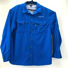 Field & Stream Blue Athletic Button Down Long Sleeve Light Weight Top Smart Cool