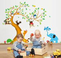 Stickers Baby Wall Removable Animals Monkey Kids Nursery Tree Decal Decor Room