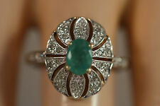DESIGNER SLV 10K YELLOW WHITE GOLD 1.14CTW COLOMBIAN EMERALD DIAMOND RING 8.25