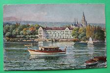 TUCK Künstler Charles F Flower AK Konstanz 1910-25 Insel Hotel Schiffe Häuser W7