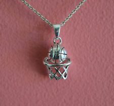 925 Sterling Silver Sport Basketball Charm Necklace, Basketball Hoop Necklace