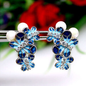NATURAL WHITE PEARL & CZ ENAMEL PAINTING EARRINGS 925 SILVER STERLING