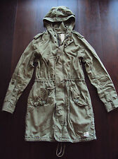 Aritzia TNA Trooper Jacket Long Military Hooded Coat Khaki Green RARE sz S