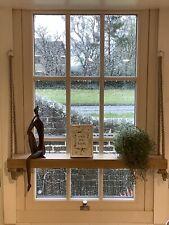 Hanging rope Sash Window Sill shelf Teak Wall Shelf