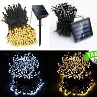 100 200 Outdoor LED Solar Powered Fairy String Lights Garden Christmas Wedding