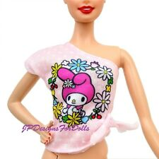 Barbie Hello Kitty Fashion Rose Pois une épaule Top 2017 NO DOLL