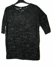 BLACK FLORAL LADIES PARTY EVENING STRETCH TOP BLOUSE G21 SIZE 12 GEORGE