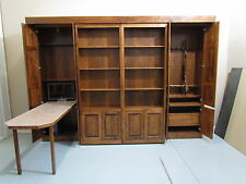 Library Style Murphy Bed QUEEN with GUN CABINET and Multifunctional DROP TABLE
