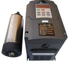 AIR-COOLED 80MM 1.5KW ER11 COLLET SPINDLE MOTOR AND MATCHING INVERTER VFD CNC
