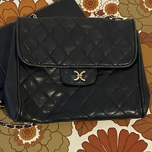 PAIR Vintage Leather CLUTCH Bag Purse Quilted 70's x 1 Modern