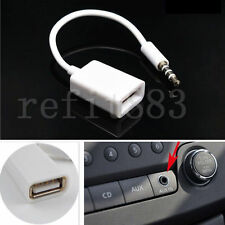 Autos MP3 3.5mm Male AUX Audio Plug Jack To USB 2.0 Female Converter Cable Cord