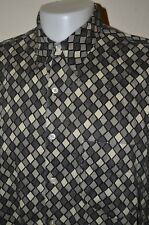 Perry Ellis Diamond Checkered Geometric Striped Dot Squares XL Shirt USA VTG 90s