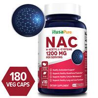 NusaPure NAC 1200mg (N-Acetyl Cysteine)  180 Veg Caps ( Non-GMO & Gluten-free)