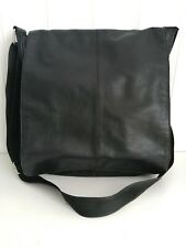 Leather bag handbag black unisex cross body satchel messenger shoulder medium