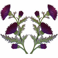 Pair of Purple Thistle Flower Patches Iron Sew On Embroidery Patch Badge Flowers