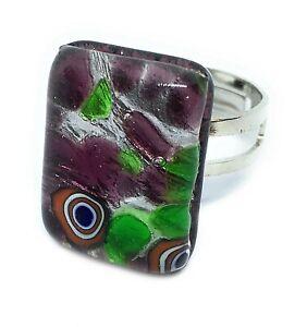 Murano Glass Ring Murano Glass Jewellery Handmade Adjustable Ring 2cm x 1.5cm