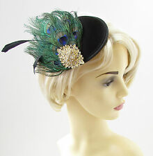 Black Gold Green Peacock Feather Fascinator 1940s Hair Clip Vintage Races 1248