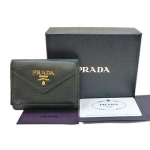 Authentic PRADA PORTAFOGLIO PATTINA Trifold Wallet Purse Black 1MH021 #K411077