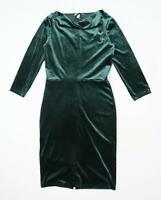 H&M Womens Size S Cowl Neck Green Crushed Velvet Midi Dress (Regular)