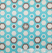 BonEful FABRIC FQ Cotton Quilt White Aqua Blue Gray Turquoise Geometric Pattern