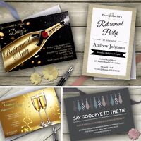 Personalised Retirement Invitations Party Invites with FREE envelopes