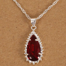 925 Silver Natural Ruby Drop Necklace Pendant with Chain Women Fashion Jewelry