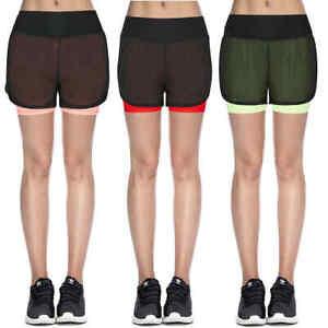 Ladies Shorts High Waist Sports Gym Yoga Running Mesh Pocket 2in1 Cycling Shorts