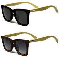 New Wooden BAMBOO Vintage Style Sunglasses Polarized Smoke Lens Wood Black c
