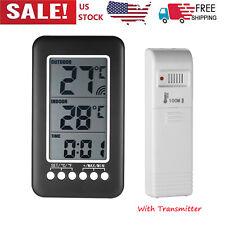 Digital Indoor Outdoor Thermometer Clock Temperature Meter Wireless Transmitter
