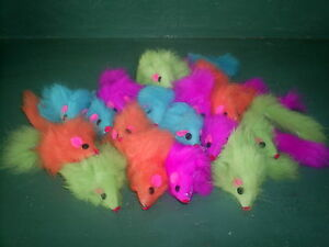 """Mouse Cat Toy -   Fur Mice 2"""" Long - pastel neon lot of 48"""
