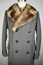Vtg Cortefiel Solid Gray Wool Blend Double Breasted Overcoat Size: 42