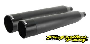 Two Brothers 005-4560499D Black Dual Slip On Straight Cut 17-19 Harley M8