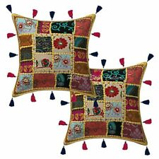 Decorative Cotton Bohemian Cowry 16x16 Embroidered Patchwork Throw Pillow Covers