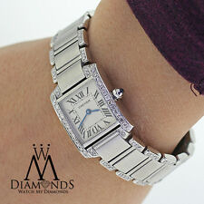 Ladies Cartier Tank W51008Q3 with Natural Diamonds Small Stainless Steel Watch