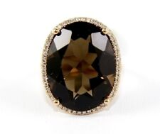 Huge Oval Smokey Brown Topaz & Diamond Solitaire Ring 14k Rose Gold 15.28Ct