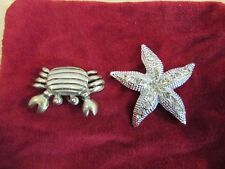 Crab Pin Brooch with Bonus Rhinestone Starfish Pin Silver-tone
