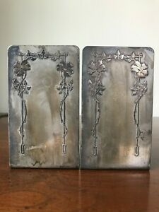Antique Heintz Sterling on Bronze Bookends #7090 E, Signed
